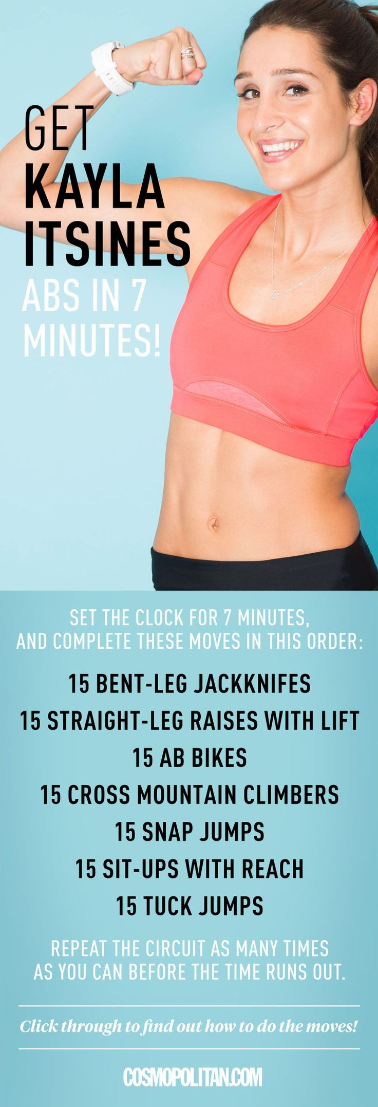 ABS WORKOUT: If you want strong, sexy abs, you don't have to spend all day on them. Just ask Australian fitness trainer Kayla Itsines, who is known for her Bikini Body Workout Guides, cult following on Instagram, and rock-solid core. To make your torso look like a washboard, Kayla recommends the seven-minute workout found here. Click through for the free abs and core workout that you can do at home or at the gym.