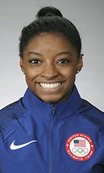 """Simone Biles (3/14/1997-): Born in Columbus, Ohio. Raised in Spring, Texas. """"5-time Olympic medalist (4 gold, 1 bronze)...Became the first woman to win 4 straight U.S. all-around titles in 42 years at the 2016 P&G Championships...Owns the most world medals in U.S. history (14) and the most world championships gold medals of any female gymnast (10) ...Favorite event is floor exercise...Began gymnastics in 2003."""""""