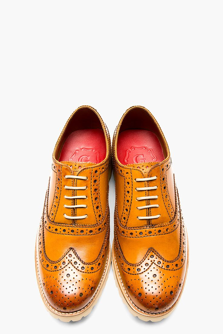 GRENSON Tan Boot Sole Stanley Brogue Shoes