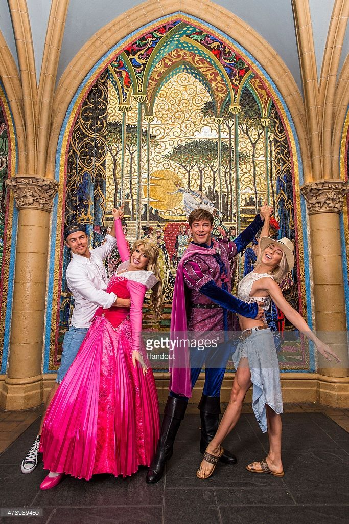 In this handout photo provided by Disney Parks, Derek Hough and Julianne Hough pose with Princess Aurora and Prince Phillip at Magic Kingdom theme park June 29, 2015 in Lake Buena Vista, Florida. The 'Dancing with the Stars' siblings enjoyed Walt Disney World Resort while on break from their roadshow, 'Move Live on Tour.'