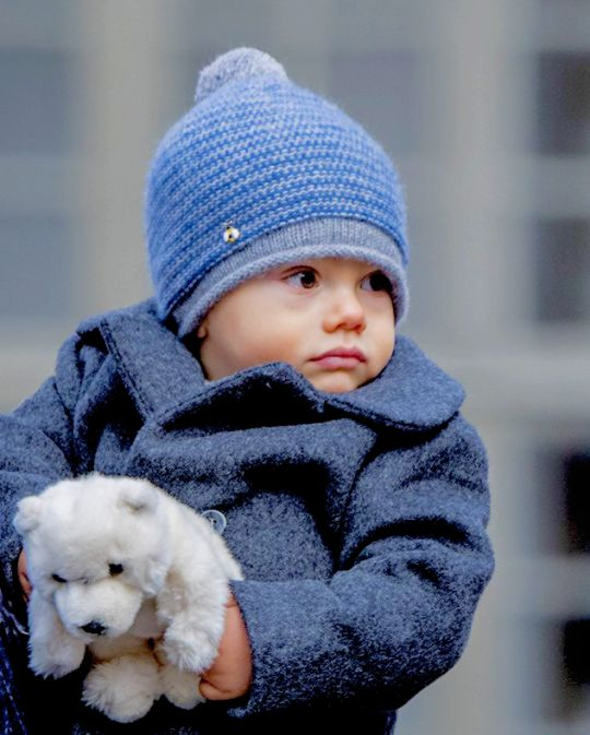 Little Prince Oscar is the cutest of the cupcakes as he attends his mother's nameday outside the Royal Palace of Stockholm. | March 12th, 2017