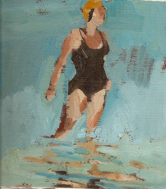 Single swimmer black Matted 11x14 Archival Print by SamanthaFrench, $85.00
