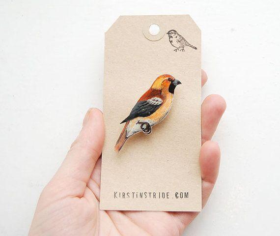 Hand drawn Hawfinch bird brooch by kirstinstride on Etsy, £15.00