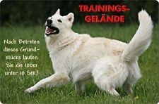 +++ Weißer SCHÄFERHUND Alu Warnschild Hundeschild SCHILD Türschild - WSS 02 T20