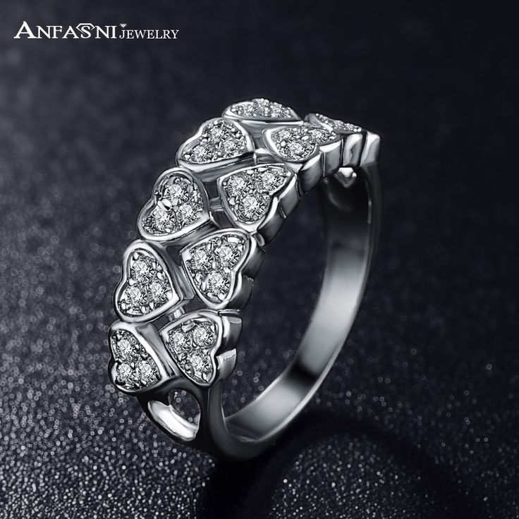 ANFASNI 2016 Environmental Alloy Engagement Ring For Lover Silver Color AAA Cubic Zircon Unisex Ring Accessories CRI0019