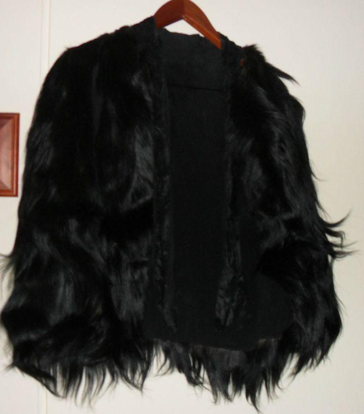 VINTAGE fur cape one size black