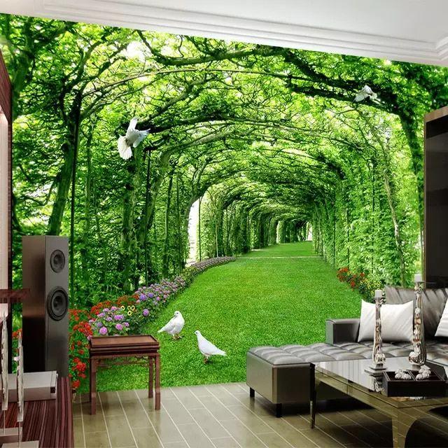 3d Custom Green Tree Forest Lawn Wallpaper for Modern Home Livingroom