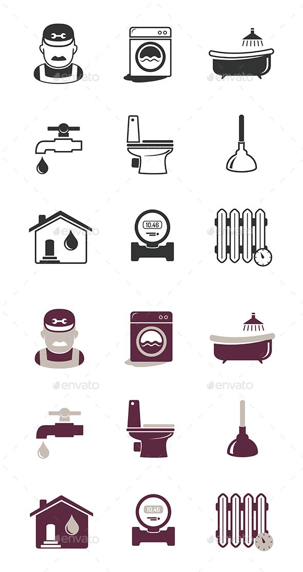 Download Free Graphicriver              Plumbing And Engineering Icons Set            #accessories #bath #bathroom #bathtub #boiler #drain #engineering #equipment #faucet #heating #hygiene #icon #industry #lavatory #leakage #pictogram #pipe #pipeline #plumber #plumbing #plunger #repair #service #sewerage #sign #symbol #toilet #tool #tube #water