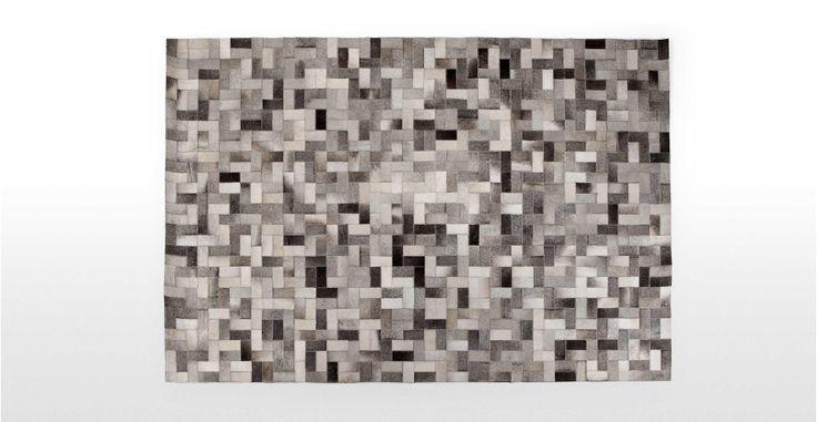 Parquet Teppich aus Kuhhaut 120 x 180 cm in verschiedenen Grautönen | made.com