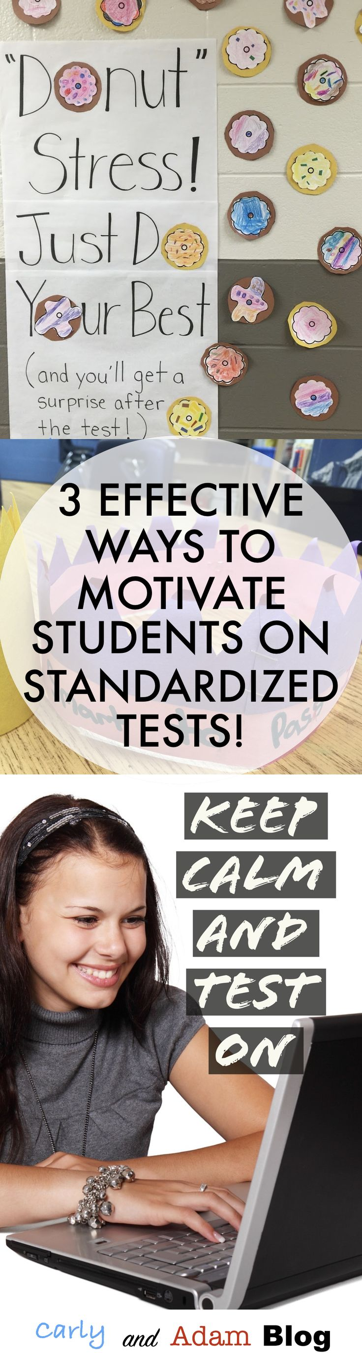 Follow these three simple steps to help you and your students Keep Calm and Test On during standardized testing season. (Three Effective Ways to Motivate Students on Standardized Tests) The Carly and Adam Blog Guest Post on the Teachers Pay Teachers Blog