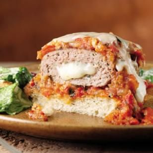 Mozzarella-Stuffed Turkey Burgers Recipe. LOSE the BUN and serve in a lettuce wrap or in a grilled portabella mushroom... save the carbs!!!