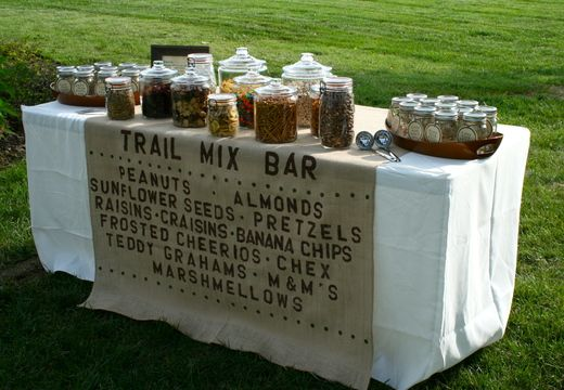 SO clever- make your own trail mix bar!  Fun activity for the kids.  Way cute to dress the table with burlap too.