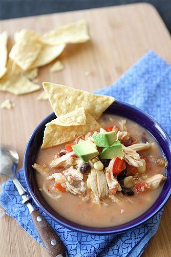 Crockpot Chicken Tortilla Soup with Black Beans & Corn {Slow Cooker}