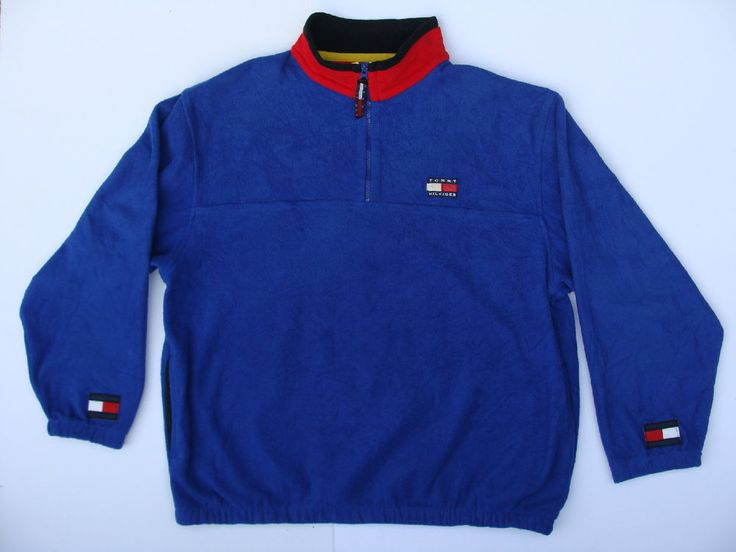 tommy hilfiger logo blue fleece 1 4 zip pullover l long. Black Bedroom Furniture Sets. Home Design Ideas