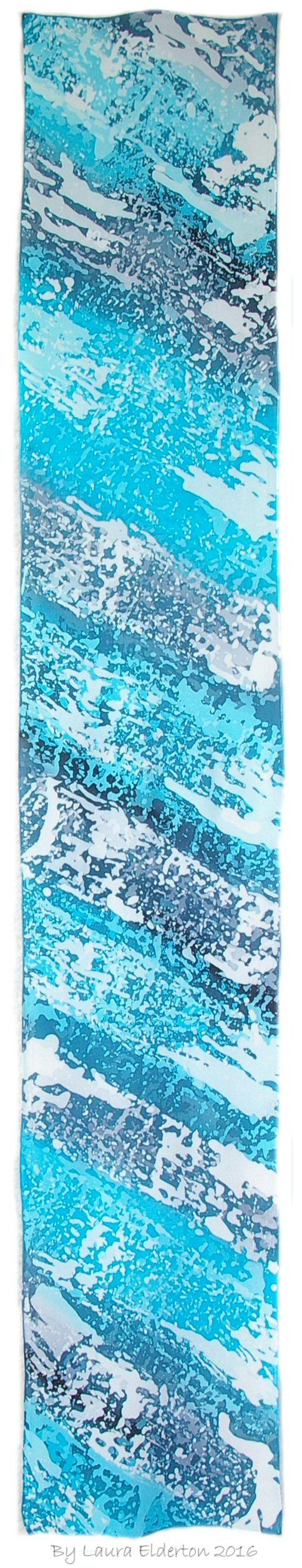 Hand dyed crepe de chine silk by Laura Elderton. Love this design so ocean like.