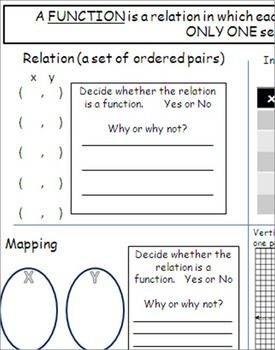 This document presents relations in four different ways (ordered pairs, mapping, input-output tables, and coordinate plane). It allows students to fill in the relations in each quadrant of the graphic organizer, determine if the relations are functions, and defend their answers.