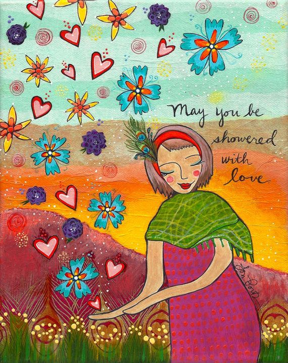 This woman is being showered with abundance, warmth and pretty things. She gives and receives with love.