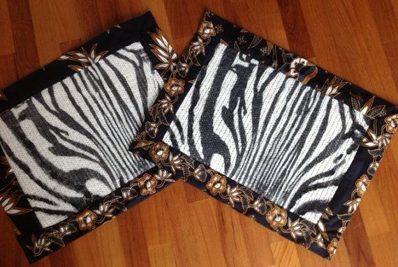 Hand-knitted Zebra Face Mohair Placemats on Etsy, $30.00