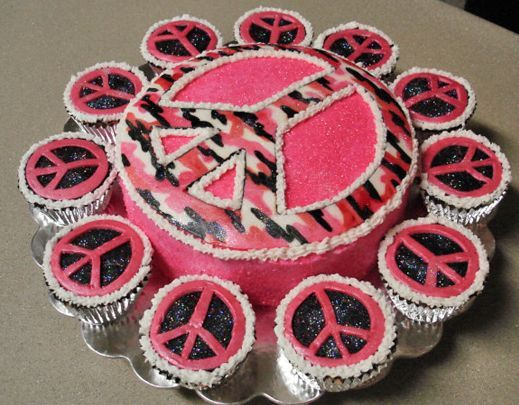 Peace Sign Birthday Cake Ideas | Peace sign pink and black cupcakes.JPG