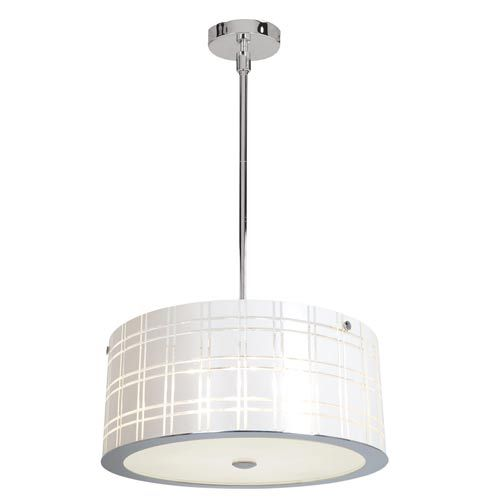 Access Lighting Kalista Polished Chrome Six Light Pendant With White Glass
