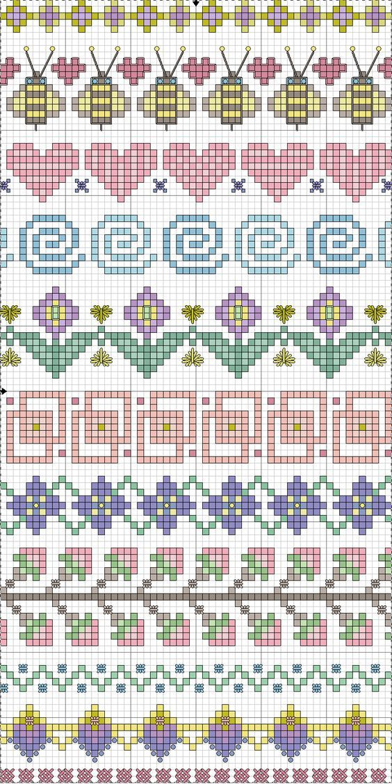 Cross-stitch Borders... no color chart available, just use pattern chart as your color guide.. or choose your own colors... ... Point de croix *m@* Cross stitch borders: More