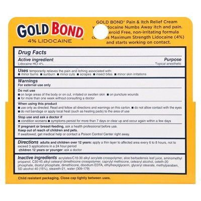 Gold Bond Pain and Itch Relief Cream with Lidocaine -1.75 oz, Clear