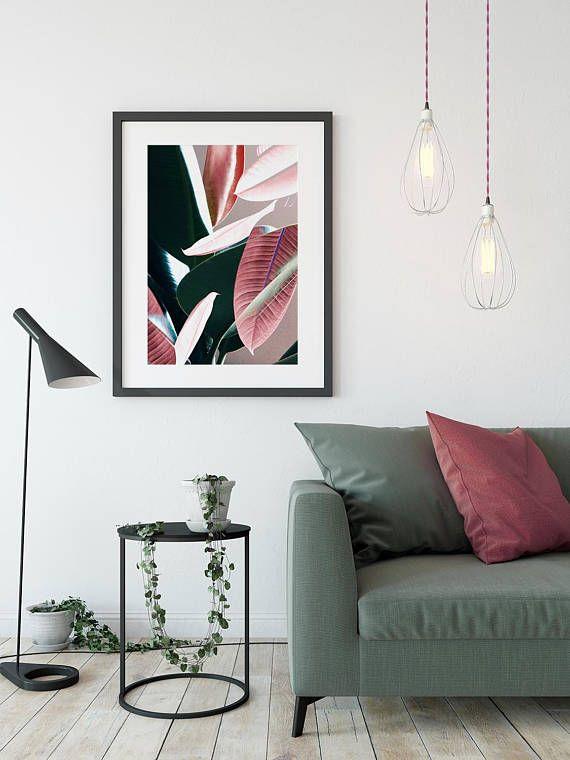 Leaf print Leaf poster Plant Prints Botanical Art Tropical