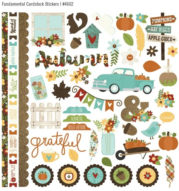 Simple Stories. Pumpkin Spice Fundamental Cardstock stickers. (Also in the 12x12 collection kit). Fall 2015 release.