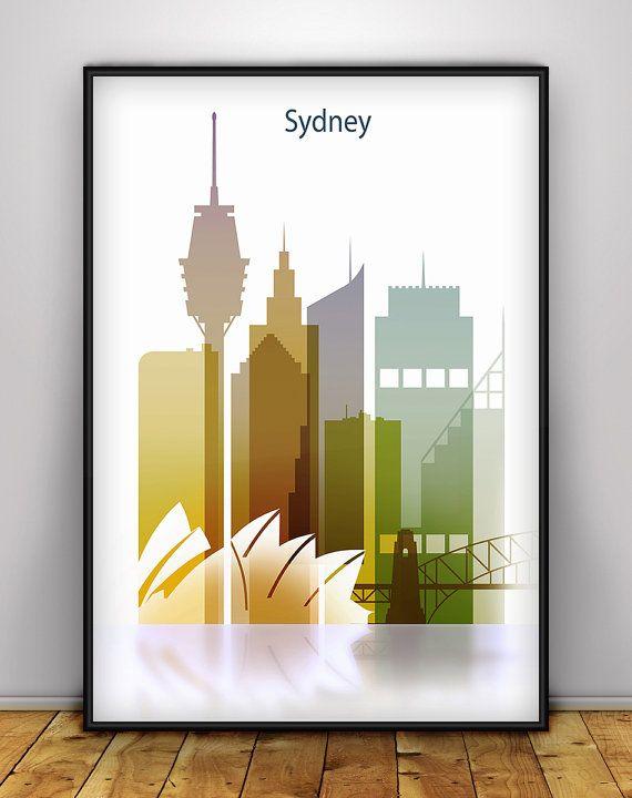 Sydney Skyline, Poster, Cityscape Art Print, Wall Art, Australia Cityscape, City prints, Travel Poster, Living Room Decor, Skyline Print