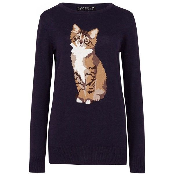 Sugarhill Boutique Nita Curious Cat Sweater found on Polyvore featuring tops, sweaters, navy, women, intarsia sweater, cat tops, navy blue tops, sugarhill boutique и navy sweater