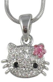 "Small Adorable 1/2"" Crystal Kitty Pendant and Necklace - Pink Flower Bow - Silver Plated SYM. $15.99. Rhodium/Silver plated for tarnish free wear - Lead and nickel safe. Comes gift boxed. Snake chain is 16"" with a lobster clasp. Pendant is adorned with 11 clear crystals, 6 pink crystals for the bow and 2 black crystals for the eyes. Pendant measures approx 1/2"" from whisker to whisker"