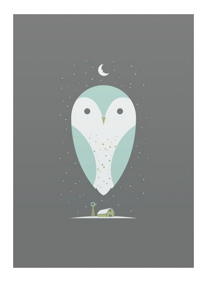 Barn Owlart print  hand made screen print on heavy paper  print measures 10 inches x 14 inches  artist: bee things
