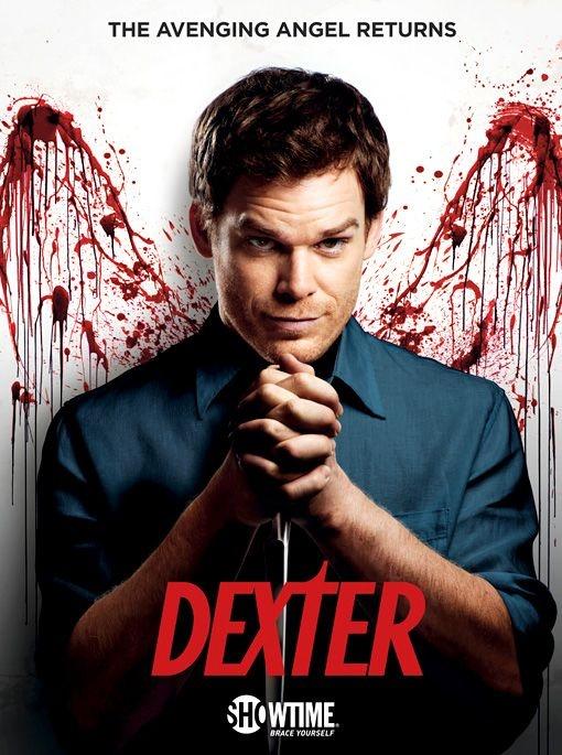 """Poster promocional da temp.6 de """"Dexter"""" (transmitida na Showtime de 2/10 a 18/12)"""