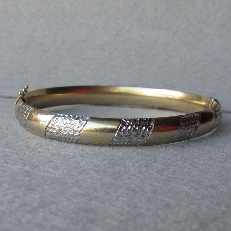 Vintage Textured Sterling Silver & Gold Plated Vermeil Hinged Bangle Bracelet