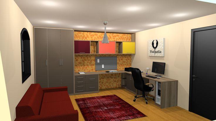 Escritório (home office) da cerveja artesanal Valhalla. Paleta de cores inspirada nos tipos de cerveja, papel de parede com representações dos ingredientes.