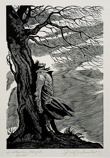 Wood engraving of Heathcliff from Wuthering Heights, by Fritz Eichenberg.