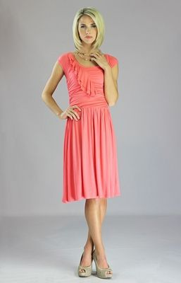 """Ellie"" Modest Dress in Coral"