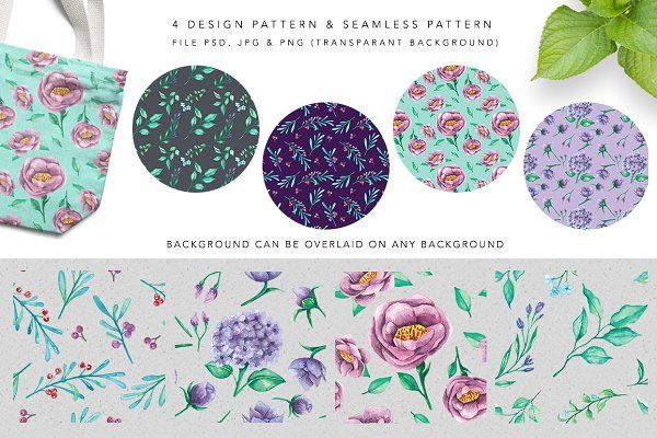 VIOLITA Floral Design Set Watercolor by andypray on @creativemarket