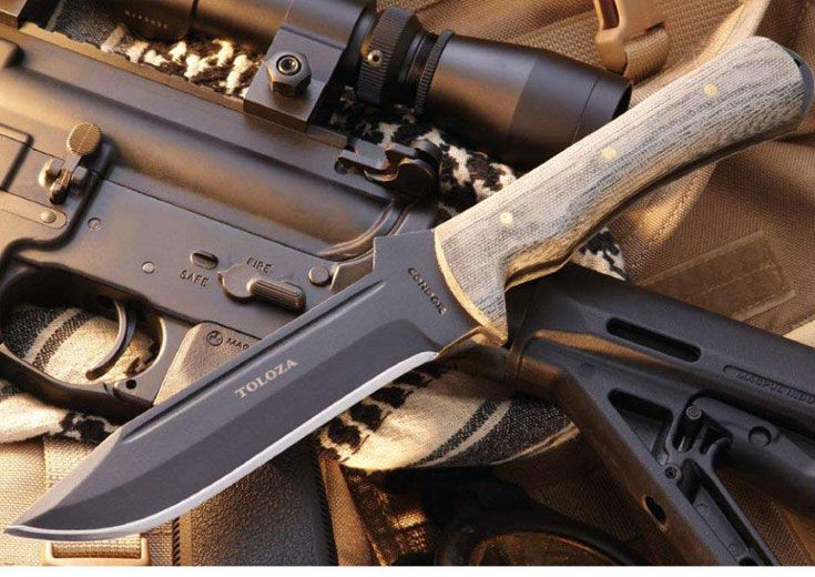 Condor Toloza Knife, Black 6 Inch 1075HC Blade, Micarta Handle, Black Leather Sheath. In honor of El Salvador soldier Samuel Gonzalez Toloza.