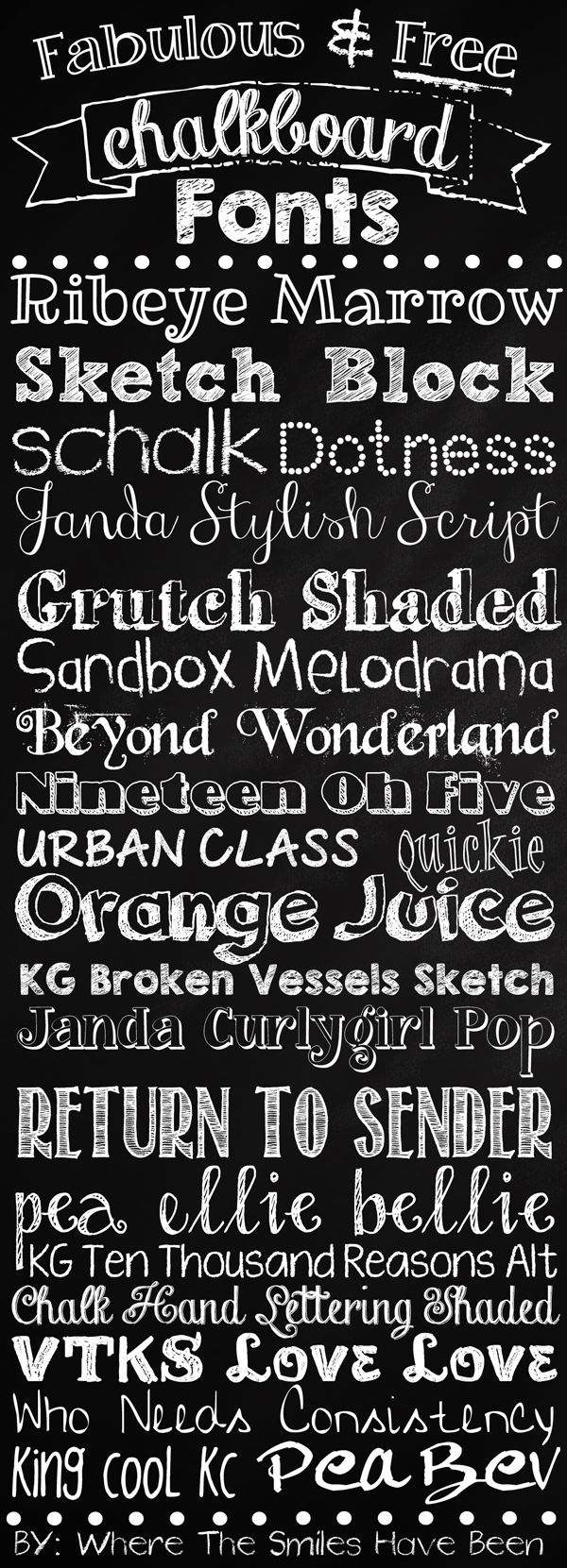 A collection of some fabulous & free chalkboard fonts that are available online. Links are provided so you can easily create your own chalkboard print!