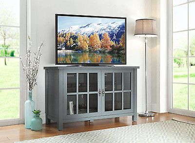 TV Console Stand Shelves Media Entertainment Furniture Storage Wood Cabinet Flat