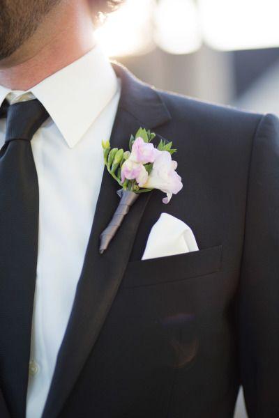 Elegant boutonniere: http://www.stylemepretty.com/little-black-book-blog/2015/01/09/rustic-chic-ryland-inn-wedding/ | Photography: Caroline Frost - http://carolinefrostphotography.com/