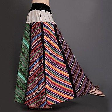 Algodón y cáñamo primavera y otoño Novel Colored Stripes Splice Mujeres Maxi faldas plisadas – EUR € 43.08