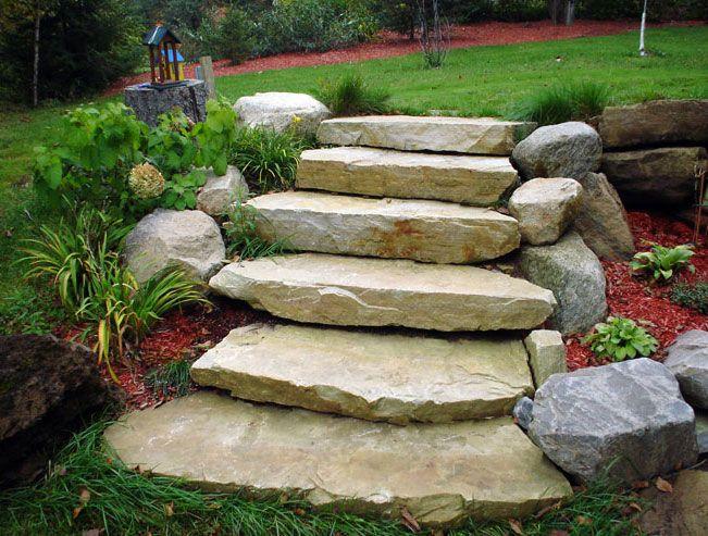 ledge sandstone steps - details