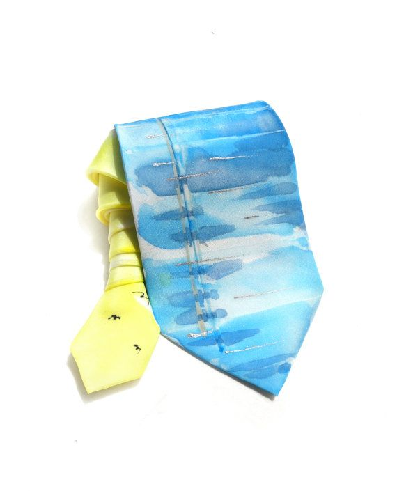 Man Tie. Hand Painted Silk Tie. Gift for Him. Boat by TeresaMare