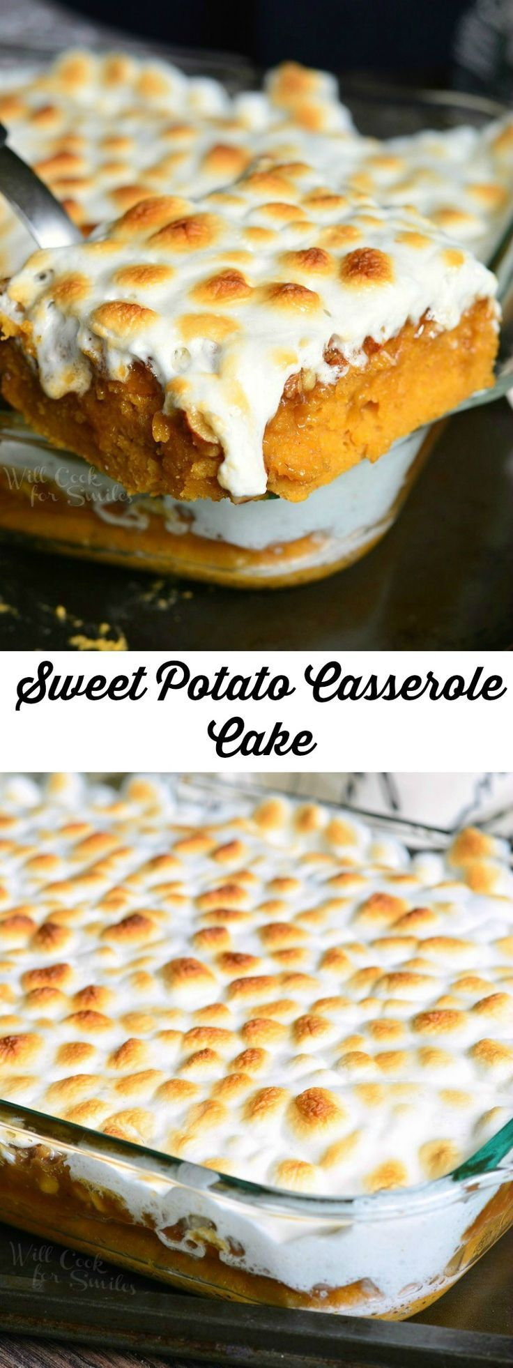 Sweet Potato Casserole Cake | from willcookforsmiles.com #desserts #cake #marshmallow