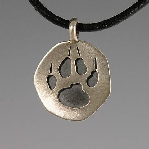 Silver Wolf Track Charm / pierced / no chain    sterling silver, pierced and layered.   3/4 inch length.  $ 55.00