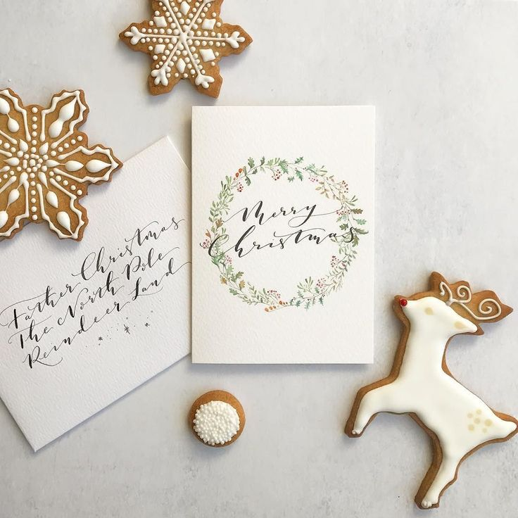 C h r i s t m a s / P o s t Introducing our final Christmas card design for 2017. A classic wreath adorned with calligraphy. Available now via my bio link. Styled up with the iced biscuits I learned how to make @annacakecouture last night. I managed a few shots before some bite marks appeared