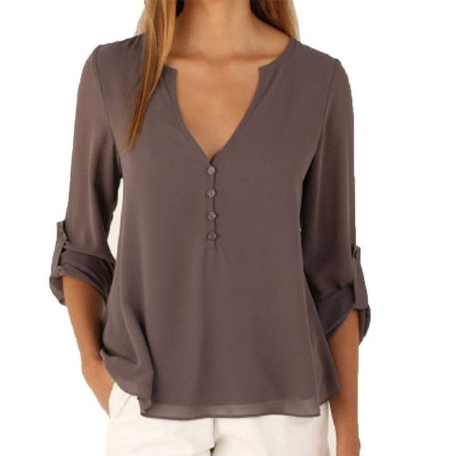 Deep V Neck Casual Chiffon Blouses Female Long Sleeves Gray Blusas Loose Casual Club Party Women Shirts Tops
