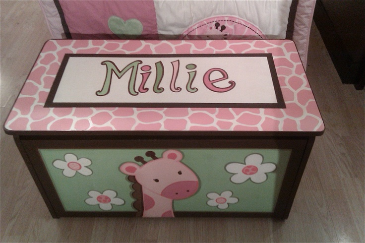 Princess Toys Box Storage Kids Girls Chest Bedroom Clothes: Hand Painted Giraffe Toy Box